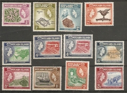 PITCAIRN ISLANDS 1957 - 1963 SET OF 12 STAMPS  SG 18/28 (LIGHTLY) MOUNTED MINT Cat £50 - Stamps