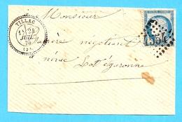 51  ---  Devant De Lettre        32    TILLAC Pour Nérac      GC   Type 24     Cérès - Storia Postale