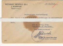 AC - B 3571 -Acte Notaire (Erbvertrag  Benfeld1944) - Enveloppe Scellée -Port Gratuit - Historische Dokumente