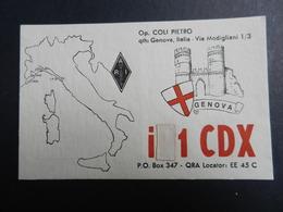 19917) RADIOAMATORE GENOVA CARTONCINO CARTOLINA NON VIAGGIATA CON CODICI - Radio & TSF