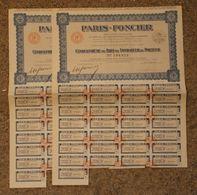 RFRA152 Scripophilie Actions - S.A. PARIS FONCIER 50 EME DE PART DE FONDATEUR 1927 X2 - Banque & Assurance