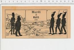 2 Scans Humour De 1891 Pompiers De Fouilly-les-oies Casque Ancien Pompier Modisme Parapluie Stand Parapluies 226A - Vieux Papiers