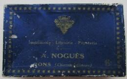 BOITE CARTON POUR CARTES DE VISITE IMPRIMERIE LIBRAIRIE PAPETERIE A. NOGUES PONS (CHARENTE INFERIEURE) CHARENTE MARITIME - Cartes De Visite