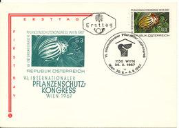 Austria FDC Planzenschutz - Kongress In Wien 29-8-1967 With Cachet - FDC
