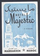 ETIQUETTE HOTEL MAJESTIC MARRAKECH MAROC 3 ETOILES - Hotel Labels