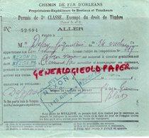 87- NEXON GARE-PO CLERMONT FERRAND- RARE PERMIS 3 E CLASSE CHEMIN DE FER ORLEANS- DEFAYE -PROPRETAIRE BESTIAUX VACHES - Documentos Históricos