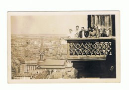 Photo Carte, STRASBOURG , Famille Avec Militaire Prise Sur La Tour De La Cathédrale En 1934, Panorama. (fr74) - Straatsburg