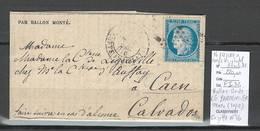 France  BALLON MONTE - 16/1/1870- LE PARMENTIER - Pour Caen - GAZETTE No 16 - 1870 Siège De Paris