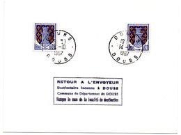 DOUBS - Dépt N° 25 = DOUBS (même Nom Que Le Département) 1967 = CACHET MANUEL A8 + TAMPON RETOUR ENVOYEUR - Postmark Collection (Covers)