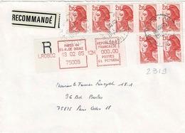 TP N°2319 En Bloc De 7 Timbres  Sur Enveloppe En Recommandé De Paris 84 - Marcophilie (Lettres)