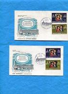 Nouvelle Hébrides- 2 Enveloppes F DC Illustrées*cad 1972-4 Timbres Couple Royal-25°anniv Mariage - FDC