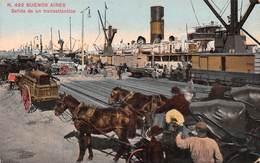 """M07927 """"BUENOS AIRES-SALIDA DE UN TRANSATLANTICO""""ANIMATA-VAGONI MERCI-PIROSCAFI,CARRETTI A CAVALLO CART ORIG. SPED. 1912 - Argentina"""