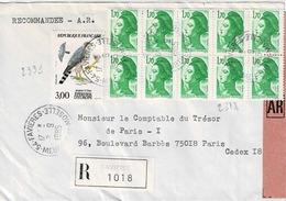 TP N°2318 En Bloc De 10 Et 2339 Sur Enveloppe En Recommandé De Favières - Marcophilie (Lettres)