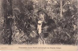 CONGO BELGE 1915 CARTE POSTALE  TRAVERSEE D'UNE FORET SUBMERGEE AU MOYEN CONGO - Congo Belge - Autres