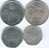 Botswana - 25 Thebe - 1976 (KM6) 1991 (KM6a) 1998 KM28) & 2013 (KM33) - Botswana