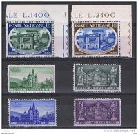 VATICANO:  1957  COMMEMORATIVI  -  2  S. CPL. N. -  SASS. 227/32 - Vatican