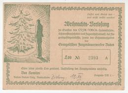 YMCA / CVJM Evangelischen Jungmannerwerkes Baden WeihnachtsVerlosung Charity Raffle 1950 B190401 - Advertising
