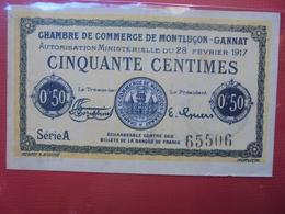 MONTLUCON 50 CENTS 1917 CIRCULER - Bonos