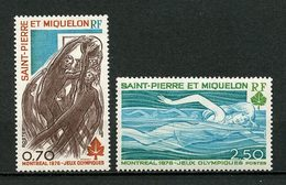 SPM  MIQUELON 1976 N° 450/451 ** Neufs MNH Superbes C 21 € Sports Jeux O. De Montréal Natation Basket Games - St.Pierre & Miquelon
