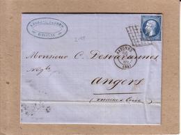 PYRENEES ATLANTIQUES , MAINE ET LOIRE - LETTRE DE BAYONNE A ANGERS  , GRILLE DE BAYONNE SUR NAPOLEON 20 C - 1860 - 1849-1876: Période Classique