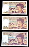 3 Billets De 20 Francs Debussy 1980-1981-1982 - 1962-1997 ''Francs''