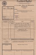 Frachtbrief-Duplikat, Berg- Und Hüttenwerks- Gesellschaft In Karwin B190401 - Briefe U. Dokumente