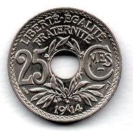 25 Centimes 1914   -  état  SUP - F. 25 Centimes