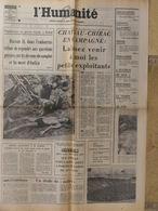 Journal L'Humanité (22 Août 1972) Hassan II - Scandale Lyon - Chirac - Pertuiset/champion Du Tabagnon - 1950 à Nos Jours