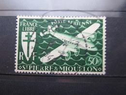 """VEND BEAU TIMBRE DE POSTE AERIENNE DE S.P.M. N° 9 , OBLITERATION """" ST-PIERRE ET MIQUELON """" !!! - Oblitérés"""