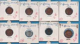 DEUTSCHES REICH LOT MONNAIES 13 COINS: 1 - 2 - 5 PFENNIG 1900-1920 - Coins & Banknotes