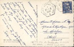 Marine Maritime CAD Agence Embarquée YT 886 CAD Hexagonal Croiseur Georges Leygues Ancre 21 6 1952 CP Rabat - Marcophilie (Lettres)