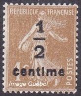 France Semeuse De Roty N°  279 B **  Fond Plein Le 1 Ct Bistre Brun Surchargé - 1906-38 Sower - Cameo