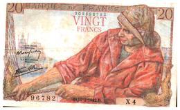Billets > France >20  Francs D.12=2=1942.D. Plus Rare - 20 F 1942-1950 ''Pêcheur''
