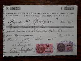 Ancienne Facture Scolaire. Maison Des éléves De L'école Centrale Des Arts Et Manufactures. 1938 - 1900 – 1949