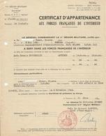 Certificat D'Appartenance Aux Forces Françaises De L'Intérieur F.F.I. - 5ème Région Militaire 1951 - Documents