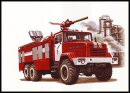 UKRAINE. HISTORY OF FIREFIGHTING TRANSPORT. FIRE VEHICLE KRAZ-63221. Unused Postcard, 2017 UkrPost Issue - Cartes Postales