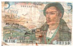 Billets > France >5 Francs   U.23=12=1943.U. - 1871-1952 Circulated During XXth