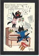 CPA Chat Cat Position Humaine écrite Piano - Gatti
