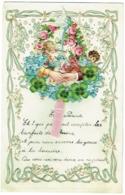 Belle Lettre Gaufrée D'Enfant Avec Découpi à Système. 1913. Anges. Fleurs. Trèfles à 4 Feuilles. - Angeles