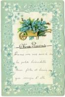 Lettre Gaufrée D'Enfant Avec Découpi. Brouette De Fleurs. - Fleurs