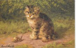 AK 0208  Kätzchen Beobachtet Eine Schnecke - Künstlerkarte Um 1910-20 - Katzen