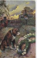 AK 0208  Schlemo , E. - Treue / Hund Trauert Am Grab Seines Herrn / Künstlerkarte Um 1910-20 - Hunde