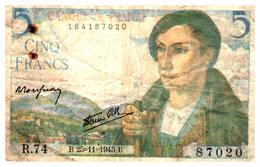Billets > France >5 Francs   B.25=11=1943.B. - 1871-1952 Circulated During XXth