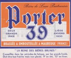 Etiquette De Bière - Brasseries  Réunies De Maubeuge Et Environs - Porter 39 - 04 - Birra
