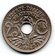 25 Centimes 1940  -  état SUP - F. 25 Centimes