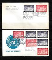 Naciones Unidas 1954 Oficina De Nueva York 2 Sobres Primer Dia Dirigidos A Nueva York - New York -  VN Hauptquartier
