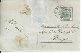 Fantasiekaart Met OCB 81 - Afstempeling MESSINES - COBA 8 - 1893-1907 Armoiries
