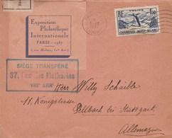 Exposition Philatélique Internationale De Paris 1937 : Avec Bande De Contrôle Douane - Marcophilie (Lettres)