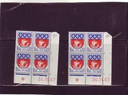 N° 1354B - 0,30F Blason De PARIS - 2° Planche CQ+CR - Tirage Du 10.11.67 Au 15.1.68 - 24.11.1967 - - Coins Datés
