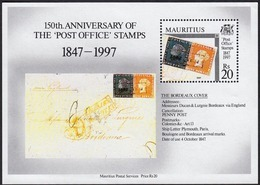 """Mauritius 1997: 150 Years Of Stamps -  The Famous """"Bordeaux-letter"""" Of 1847 With Both POST OFFICE Stamps (sheetlet MNH) - Maurice (...-1967)"""